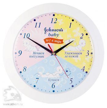 Часы круглые 305 мм, выпуклое стекло, белый корпус