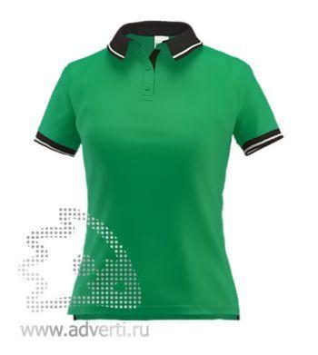 Рубашка поло «Stan Contrast W», женская, зеленая с черным