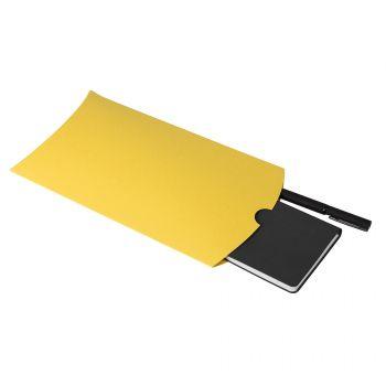 Коробка подарочная «Pack», жёлтая, пример и сувенирами внутри
