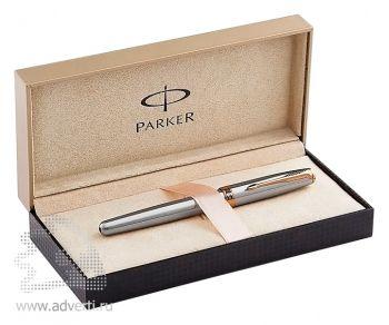 Перьевая ручкаParker Sonnet Stainless Steel GT, подарочный футляр