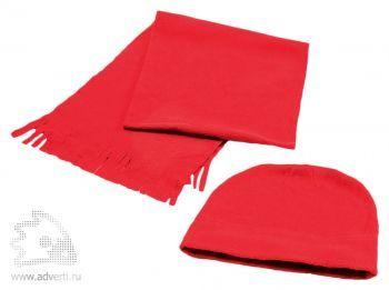 Флисовый набор «Winter»: шапка и шарф в чехле, красный