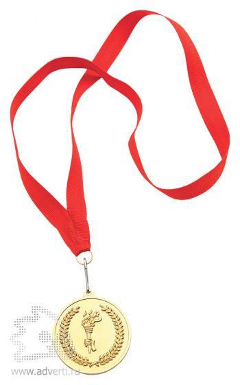 Медаль наградная на ленте, золото