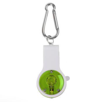 Свисток с фонариком и светоотражателем «Floykin» на карабине, зелёный, вид сверху