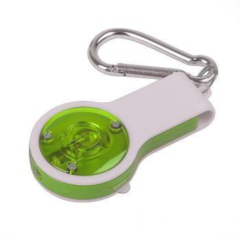 Свисток с фонариком и светоотражателем «Floykin» на карабине, зелёный, оборотная сторона