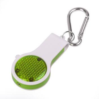 Свисток с фонариком и светоотражателем «Floykin» на карабине, зелёный