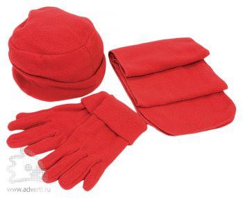 Флисовый набор «Metel»: шапка, шарф, перчатки, красный