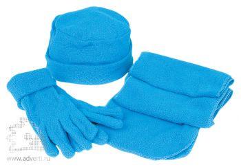 Флисовый набор «Metel»: шапка, шарф, перчатки, синий