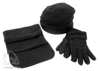 Флисовый набор «Metel»: шапка, шарф, перчатки, черный