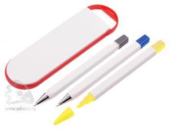 Набор «Квартет», красный: шариковая ручка, маркер, карандаш и футляр