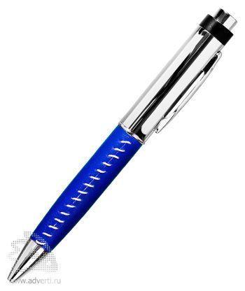 Флешка-ручка с кожаной вставкой, синяя