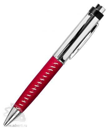Флешка-ручка с кожаной вставкой, красная