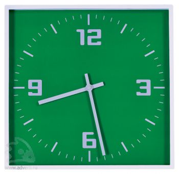 Часы настенные «Квадрат», зеленые
