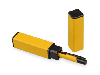 Футляр для ручки «Quattro», желтый, с открытой крышкой