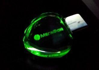 Флеш-накопитель Сердце, под гравировку 3D логотипа, под гравировку 3D логотипа, зеленый