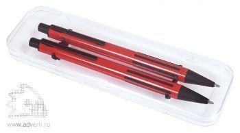 Набор «Future»:ручка и карандаш в прозрачном футляре, красный