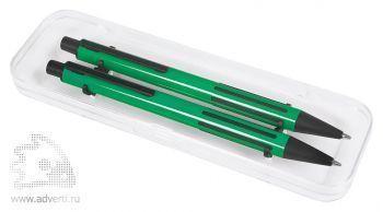Набор «Future»:ручка и карандаш в прозрачном футляре, зеленый