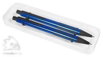 Набор «Future»:ручка и карандаш в прозрачном футляре, синий