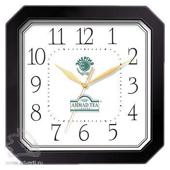 Часы квадратные со скошенными углами 290x290 мм, черные