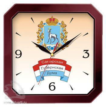 Часы квадратные со скошенными углами 290x290 мм, бордовые