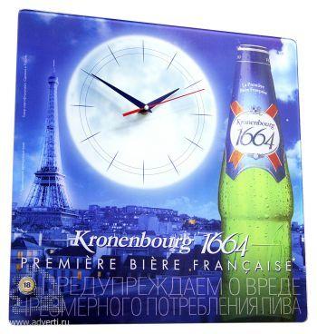 Часы стеклянные квадратные, 400х400 мм