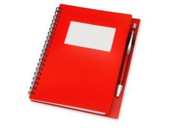Блокнот «Контакт» с ручкой, красный