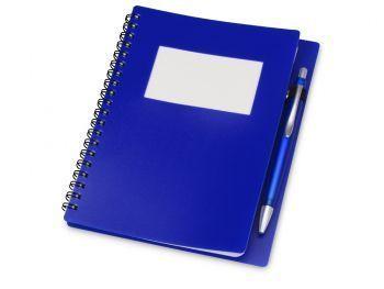 Блокнот «Контакт» с ручкой, синий