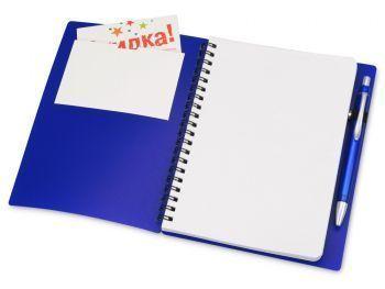 Блокнот «Контакт» с ручкой, синий, открытый