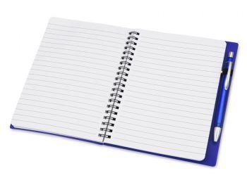 Блокнот «Контакт» с ручкой, синий, разворот