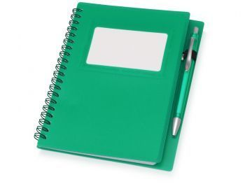 Блокнот «Контакт» с ручкой, зеленый