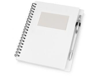 Блокнот «Контакт» с ручкой, белый