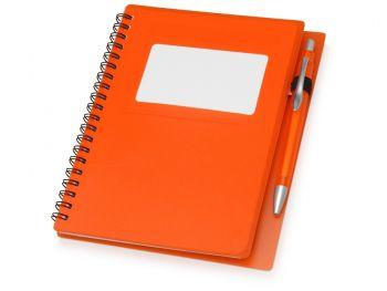 Блокнот «Контакт» с ручкой, оранжевый