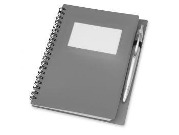 Блокнот «Контакт» с ручкой, серый