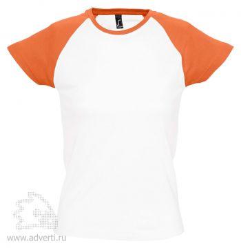 Футболка двухцветная «Milki 150», женская, белая с оранжевым