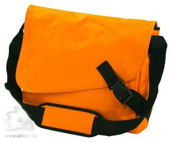Сумка-мессенджер с замком на верхнем клапане, оранжевая