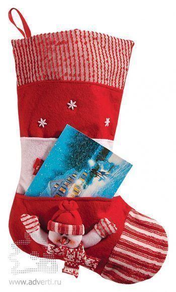 Носок для подарков с карманом, красный