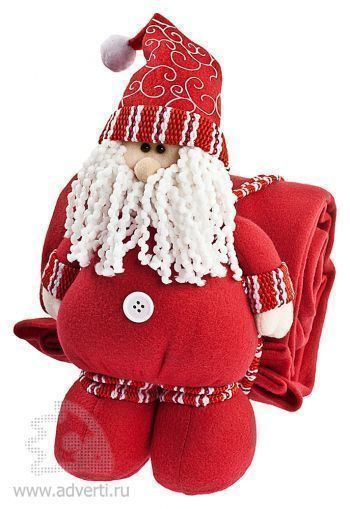 Дед Мороз с пледом, красный