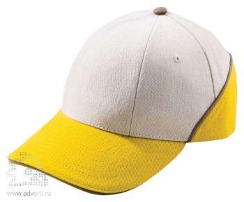 Бейсболка «Unit Art», желтая с белым