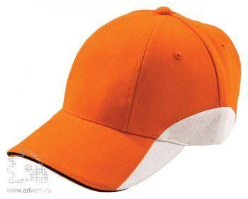 Бейсболка «Unit Discovery», оранжевая с белым