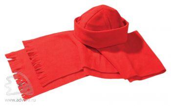 Комплект «Unit Fleecy»: шапка и шарф, красные