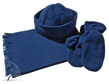Комплект «Unit Fleecy»: шарф, шапка, варежки, синий