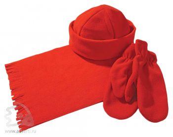 Комплект «Unit Fleecy»: шарф, шапка, варежки, красный