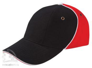 Бейсболка «Unit Smart», черная с красным
