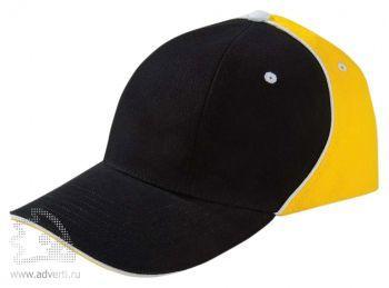 Бейсболка «Unit Smart», черная с желтым