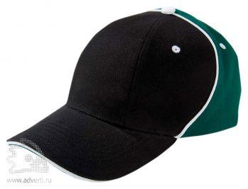 Бейсболка «Unit Smart», черная с зеленым