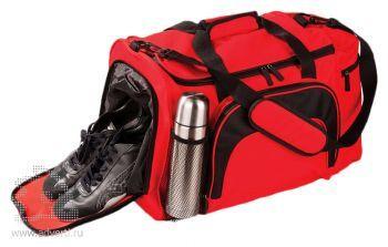 Сумка с отделением для обуви и бутылки. красная