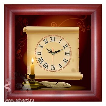 Часы квадратные 312x312 мм, темное дерево