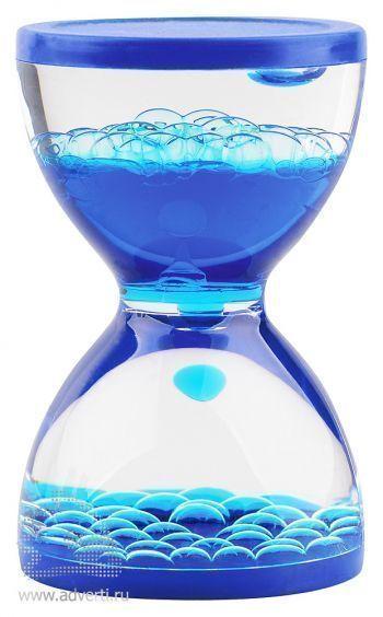 Жидкостная фигура для релаксации «Hourglass», синяя