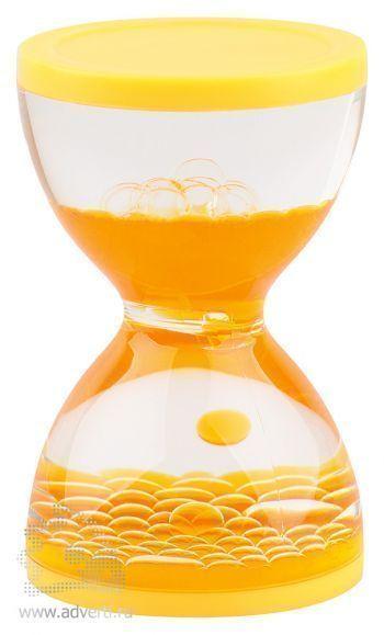 Жидкостная фигура для релаксации «Hourglass», желтая