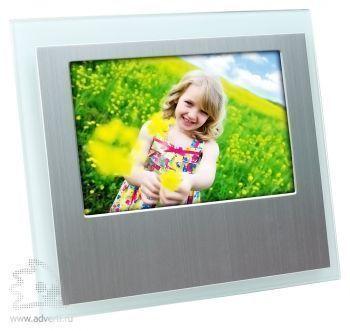 Горизонтальная рамка для фотографии 10х15 см, серебристая