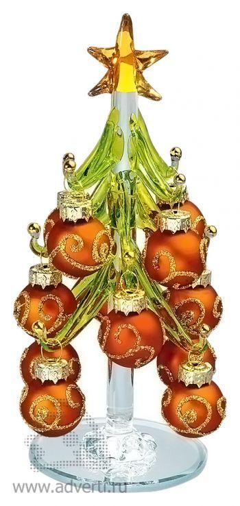 Стеклянный сувенир «Елочка», красная